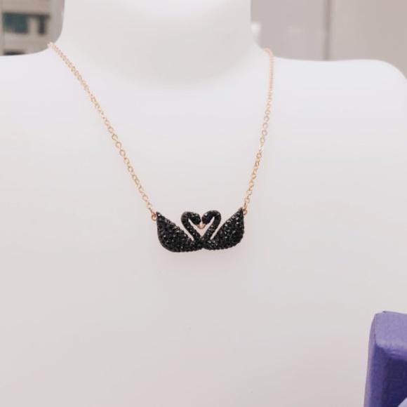 f99b2de11 Swarovski Jewelry | Iconic Swan Double Necklace Black Rose Gold ...